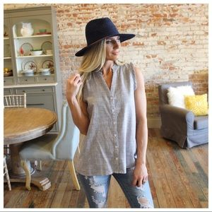 Grey Pinstriped Button Down with Ruffle Trim